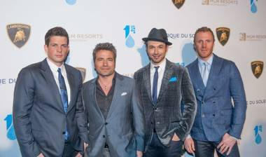 "The Canadian Tenors arrive on the blue carpet for Cirque du Soleil's ""One Night for One Drop"" at Hyde Bellagio on Friday, March 22, 2013."
