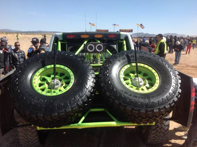 Spare tires are standard equipment for vehicles in the Mint 400 off-road race, staged in the desert near Las Vegas. More than 1,000 competitors took part in the 2013 edition of the race, held Saturday, March 23.