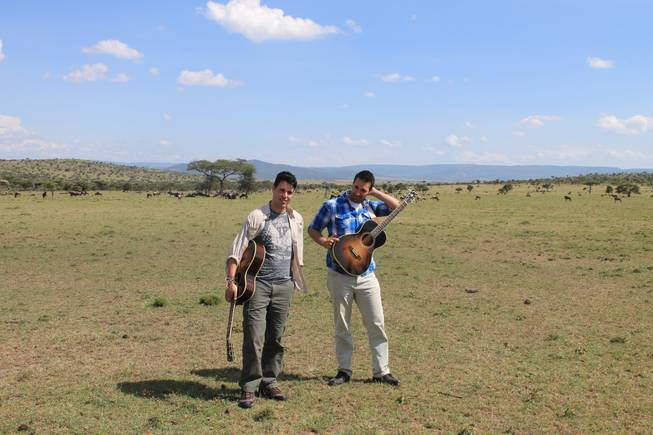 Frankie and Tony Moreno prep for a video in the Ol Kinyei Conservancy wilderness in southeastern Kenya.
