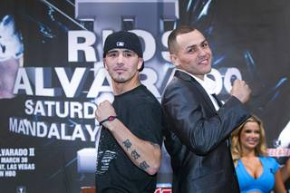 Light welterweight boxers Brandon Rios, left, and Mike Alvarado pose during a final news conference at the Mandalay Bay Thursday, March 28, 2013. The boxers meet for a rematch at the Mandalay Bay Events Center Saturday.