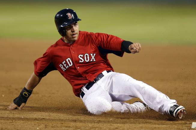 Boston Red Sox's Jacoby Ellsbury slides safely back to first base after Daniel Nava hit a fly-out in the third inning of an exhibition spring training baseball game against the Minnesota Twins in Fort Myers, Fla., Thursday, March 28, 2013.