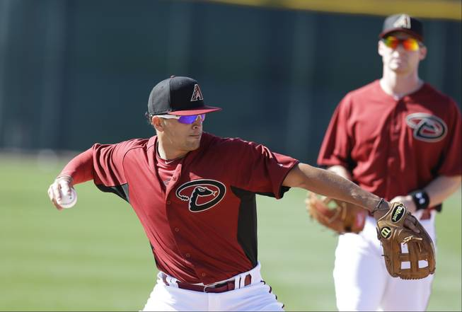 Arizona Diamondbacks' Martin Prado throws during a spring training baseball workout Friday, Feb. 15, 2013, in Scottsdale, Ariz.