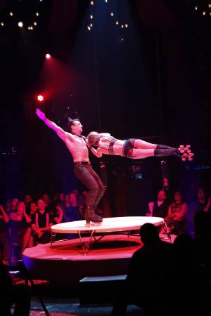 "Skaters Sven and Roma perform during the 1,000th performance of ""Absinthe"" at Caesars Palace on Thursday, March 28, 2013."