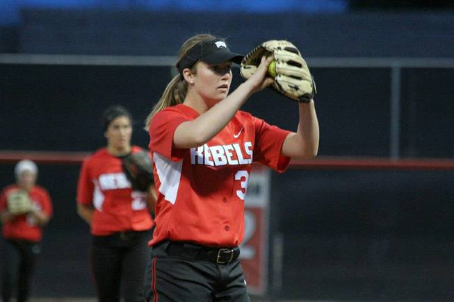 UNLV junior pitcher Amanda Oliveto prepares to pitch on Saturday, March, 2, 2013, against DePaul at Eller Media Stadium. Two weeks later Oliveto would throw the fourth no-hitter of her Rebels career.