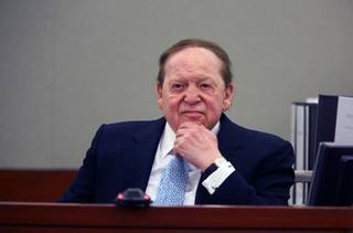 Sands Chairman and CEO Sheldon Adelson takes the witness stand at the Regional Justice Center Thursday, April 4, 2013. Former consultant Richard Suen is suing the Las Vegas Sands saying he is owed millions of dollars in an agreement in which he helped Sands secure its gaming license in Macau a decade ago.
