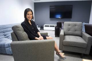Founder Mimi Pham poses in a media room at the fremont east studios in downtown Las Vegas Thursday, April 4, 2013. The video and audio studios are scheduled to hold a grand opening on April 9.