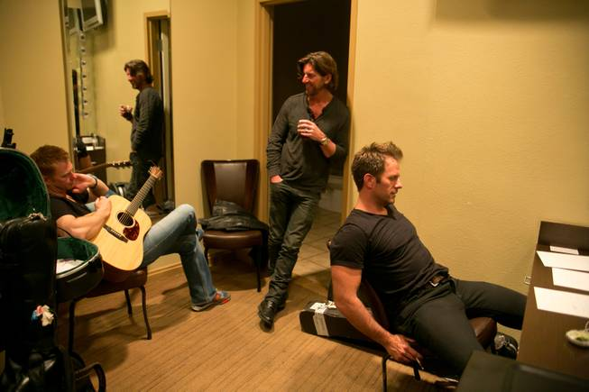 Backstage, Brian McComas, Brett James and Aaron Benward write a song based upon an audience-suggested theme during a show at Rocks Lounge at Red Rock Resort Friday, April 5, 2013.