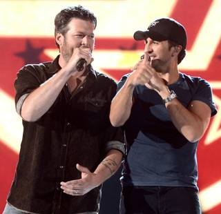 Blake Shelton and Luke Bryan rehearse for the 48th Annual Academy of Country Music Awards at MGM Grand Garden Arena on Friday, April 5, 2013.
