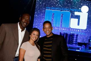 Michael Jordan, fiancee Yvette Prieto and Will Smith at the 2013 Michael Jordan Celebrity Invitational Gala at Aria on Friday, April 5, 2013.