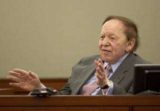 Las Vegas Sands Corp. CEO Sheldon Adelson testifies for a second day in Clark County district court, Friday, April 5, 2013, in Las Vegas. Attorneys for Hong Kong businessman Richard Suen say Sands owes him $328 million because he worked behind the scenes to help the company win a gambling license in the Chinese enclave of Macau.