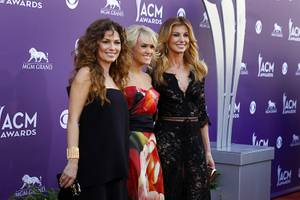 Shania Twain, Carrie Underwood and Faith Hill arrive for the 48th Academy of Country Music Awards at MGM Grand Garden Arena on Sunday, April 7, 2013.