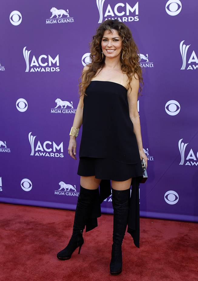 Singer Shania Twain arrives for the 48th ACM Awards at the MGM Grand Sunday, April 7, 2013.