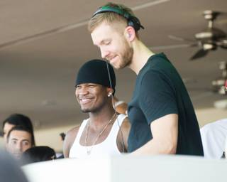 Calvin Harris, right, with Ne-Yo, opens the 2013 pool season of Wet Republic at MGM Grand on Sunday, April 7, 2013.