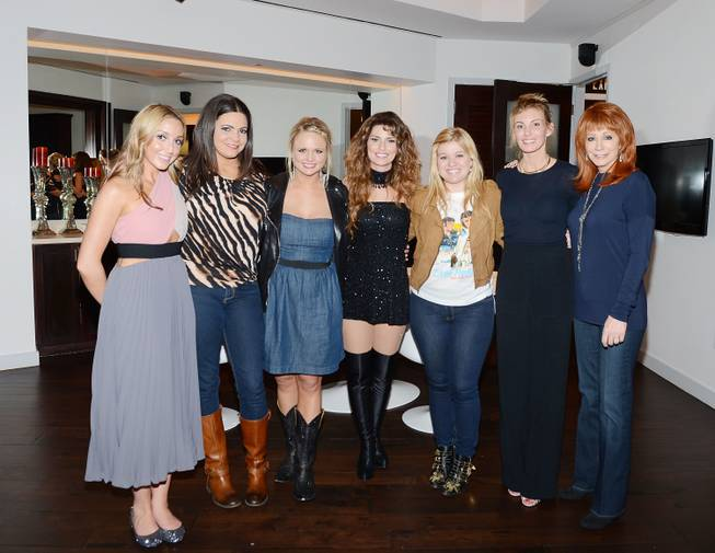 "Ashley Monroe, Angaleena Presley, Miranda Lambert, Shania Twain, Kelly Clarkson, Faith Hill and Reba McEntire backstage after Twain's ""Still the One"" at The Colosseum in Caesars Palace on Saturday, April 6, 2013."