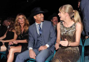Faith Hill, Tim McGraw and Taylor Swift at the 2013 Academy of Country Music Awards at MGM Grand Garden Arena on Sunday, April 7, 2013.