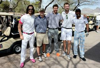 Jake Owen, Scotty McCreery, Brett Eldredge, Charles Kelley and Darius Rucker take part in the 2013 ACM Lifting Lives Celebrity Golf Classic hosted by Rucker on Saturday, March 6, 2013, at TPC Summerlin.