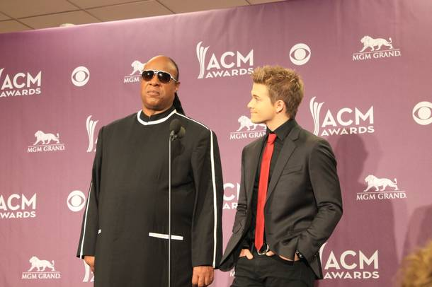 Stevie Wonder and Hunter Hayes field questions from the media after the 48th annual ACM Awards telecast from MGM Grand Garden Arena.