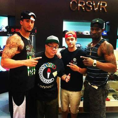 Colin Kaepernick, Eric Nagrampa (DJ E-Rock), a guest and Ricardo Lockette at CRSVR at The Cosmopolitan of Las Vegas on Saturday, April 6, 2013