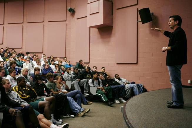 Former mobster Michael Franzese speaks to athletes at George Mason University in Fairfax, Va., on Tuesday, Oct. 30, 2007.  Franzese tours the country speaking to college and professional athletes about the dangers of gambling and getting mixed up with the mob, and by his count has visited 350 schools.