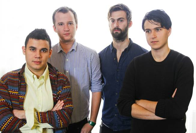 Vampire Weekend's Ezra Koenig, Chris Thomson, Chris Baio, and Rostam Batmanglij, right to left, pose for a photograph during the SXSW Music Festival, on Thursday, March 14, 2013 in Austin, Texas.