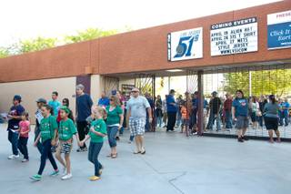 Baseball fans enter Cashman Field during the opening game for the Las Vegas 51's against the Colorado Springs Sky Sox, Friday April 12, 2013.