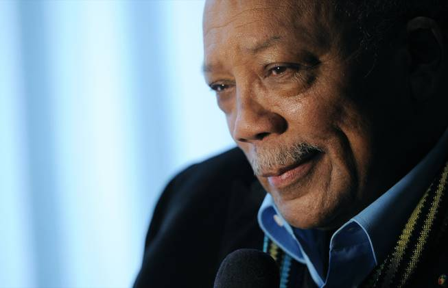 Rock and Roll Hall of Fame inductee Quincy Jones is interviewed after a news conference to announce the 2013 inductees in Los Angeles on Dec. 11, 2013.