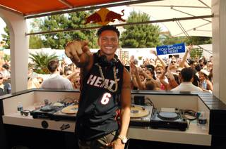 DJ Pauly D at Liquid Pool Lounge's 2013 season opening at Aria on Saturday, April 13, 2013.
