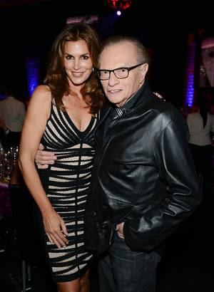"Cindy Crawford and Larry King at the 2013 Keep Memory Alive ""Power of Love"" Gala celebrating the joint 80th birthdays of Sir Michael Caine and Quincy Jones at MGM Grand Garden Arena on Saturday, April 13, 2013."