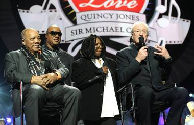 "Quincy Jones, Stevie Wonder, Whoopi Goldberg and Sir Michael Caine at the 2013 Keep Memory Alive ""Power of Love"" Gala celebrating the joint 80th birthdays of Caine and Jones at MGM Grand Garden Arena on Saturday, April 13, 2013."