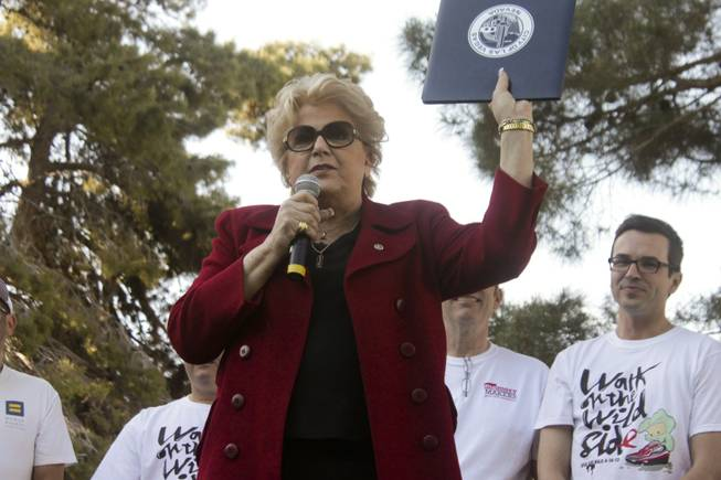 Las Vegas Mayor Carolyn Goodman proclaims April 13 as Aids Walk Day during the 2013 Aids Walk event held at UNLV, Sunday, April 13, 2013.