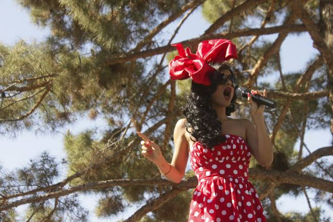 "Melody Sweets from the Strip show ""Absinthe"" performs during the 2013 Aids Walk held at UNLV, Sunday, April 13, 2013."
