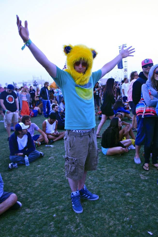 Music fans show off their festival fashions at Weekend 1 of the Coachella Valley Music and Arts Festival in Indio, Calif. April 12-14, 2013.