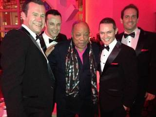 Quincy Jones is flanked by The Venetian headliners Human Nature at the 2013 Keep Memory Alive