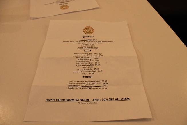 The final-day menu at Golden Grill at Gold Spike.