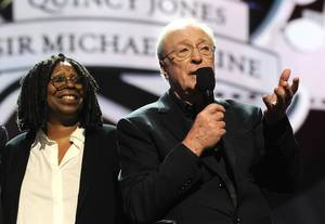 "Whoopi Goldberg and Sir Michael Caine at the 2013 Keep Memory Alive ""Power of Love"" Gala celebrating the joint 80th birthdays of Quincy Jones and Caine at MGM Grand Garden Arena on Saturday, April 13, 2013."