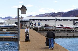 A view of the Las Vegas Boat Harbor at Lake Mead Wednesday, April 17, 2013. American Rivers, Nuestro Rio, Protect the Flows, and the National Young Farmers Coalition held a news conference at the marina to announce the Colorado River as America's #1 Most Endangered  River of 2013.