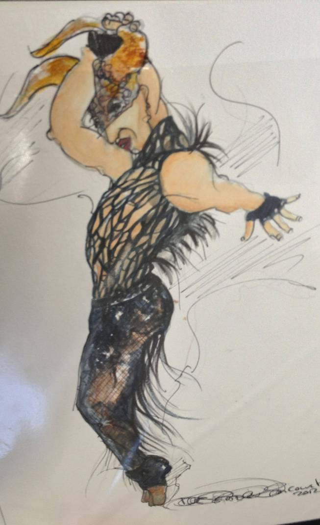 A sketch of one of the Cirque du Soleil costumes.