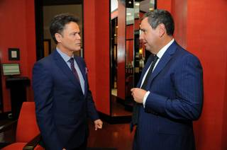 Saks Fifth Avenue Chairman and CEO Steve Sadove, right, chats with honoree Donny Osmond at the 10th annual Vegas Dozen event at Saks Fifth Avenue at Fashion Show mall on April 17, 2013.