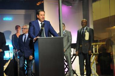 Saks Fifth Avenue Chairman and CEO Steve Sadove addresses guests at the 10th annual Vegas Dozen event at Saks Fifth Avenue at Fashion Show mall on April 17.