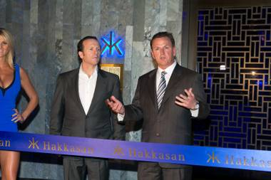 Neil Moffitt, CEO of Angel Management Group, and Scott Sibella, president and COO of MGM Grand, make a few remarks during a ceremonial ribbon cutting for Hakkasan Las Vegas on Thursday, April 18, 2013.