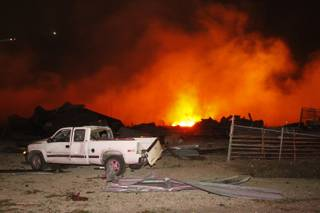 A fire burns at a fertilizer plant in West, Texas after an explosion Wednesday April 17, 2013.