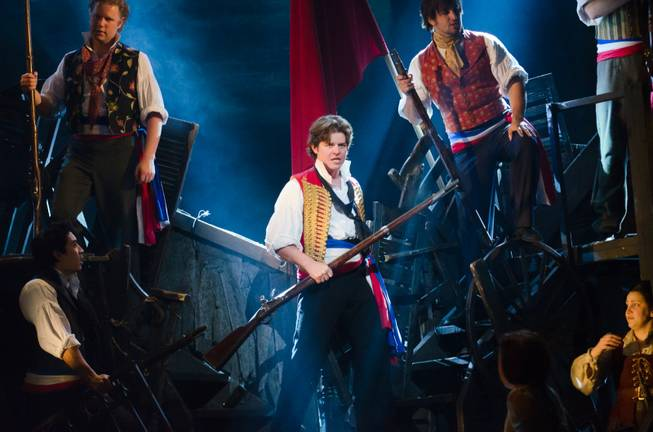 "Jason Forbach (""Enjolras"") performs ""The Barricade"" in ""Les Miserables."""