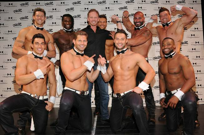 Ian Ziering (he's the one wearing a shirt) and Chippendales cast members at The Rio.