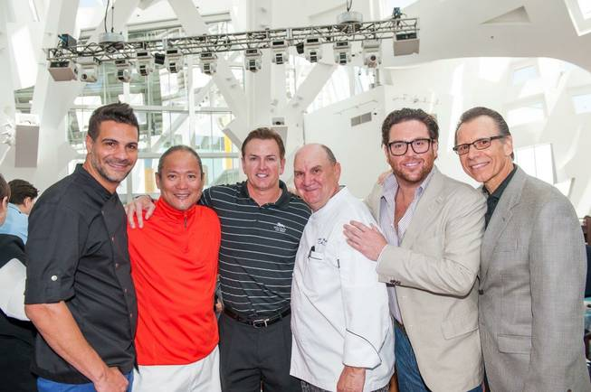2013 UNLVino's first-ever Bar-B-Q honoring Scott Sibella with the Dom Perignon Award of Excellence at The Cleveland Clinic Lou Ruvo Center for Brain Health on Sunday, April 21, 2013. From left: Angelo Sosa, Masaharu Morimoto, Sibella, Gustav Mauler, Scott Conant and Michael Severino.