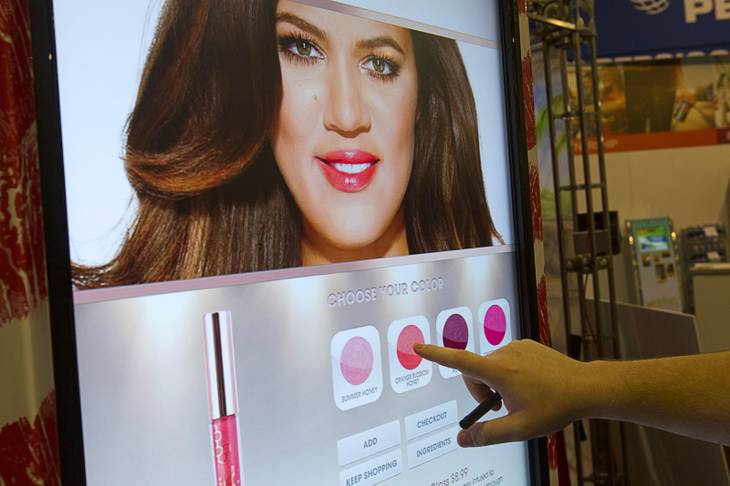 A vending machine featuring the he Kardashian line of Khroma Beauty products is displayed during the NAMA (National Automatic Merchandising Association) One Show at the Sands Expo Center Wednesday, April 25, 2013. The NAMA One Show convention serves the vending, coffee and food service industries.