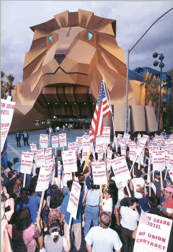 Members of the Culinary Union 226 are seen picketing outside the old entrance to MGM Grand, circa 1984.