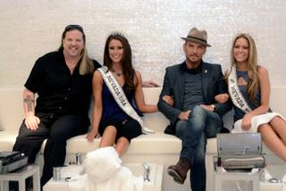 Michael Boychuck, 2014 Miss Nevada USA Nia Sanchez, Matt Goss and 2014 Miss Nevada Teen USA Alexa Taylor at Color in Caesars Palace.