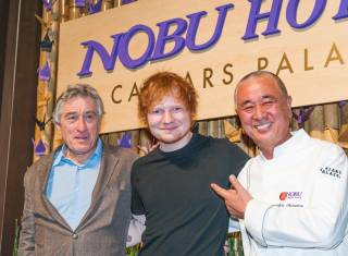 Robert De Niro, Ed Sheeran and Nobu Masuhisa attend the Nobu Caesars Palace Hotel grand-opening celebration Sunday, April 28, 2013.