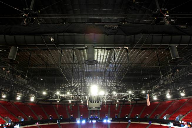 Vents for the air handlers extend down from the ceiling of the Thomas & Mack Center Tuesday, April 30, 2013.