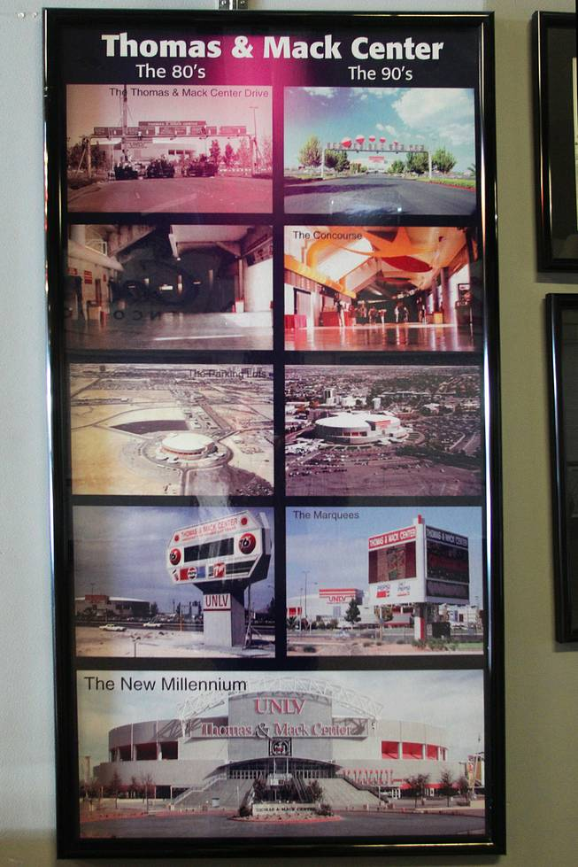 Photos detailing the evolution of the Thomas & Mack Center are seen in the concourse Tuesday, April 30, 2013.
